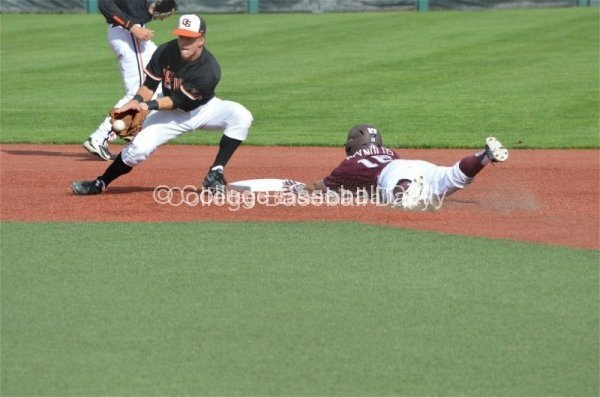 Texas A&M's Mikey Reynolds slides into Second Base