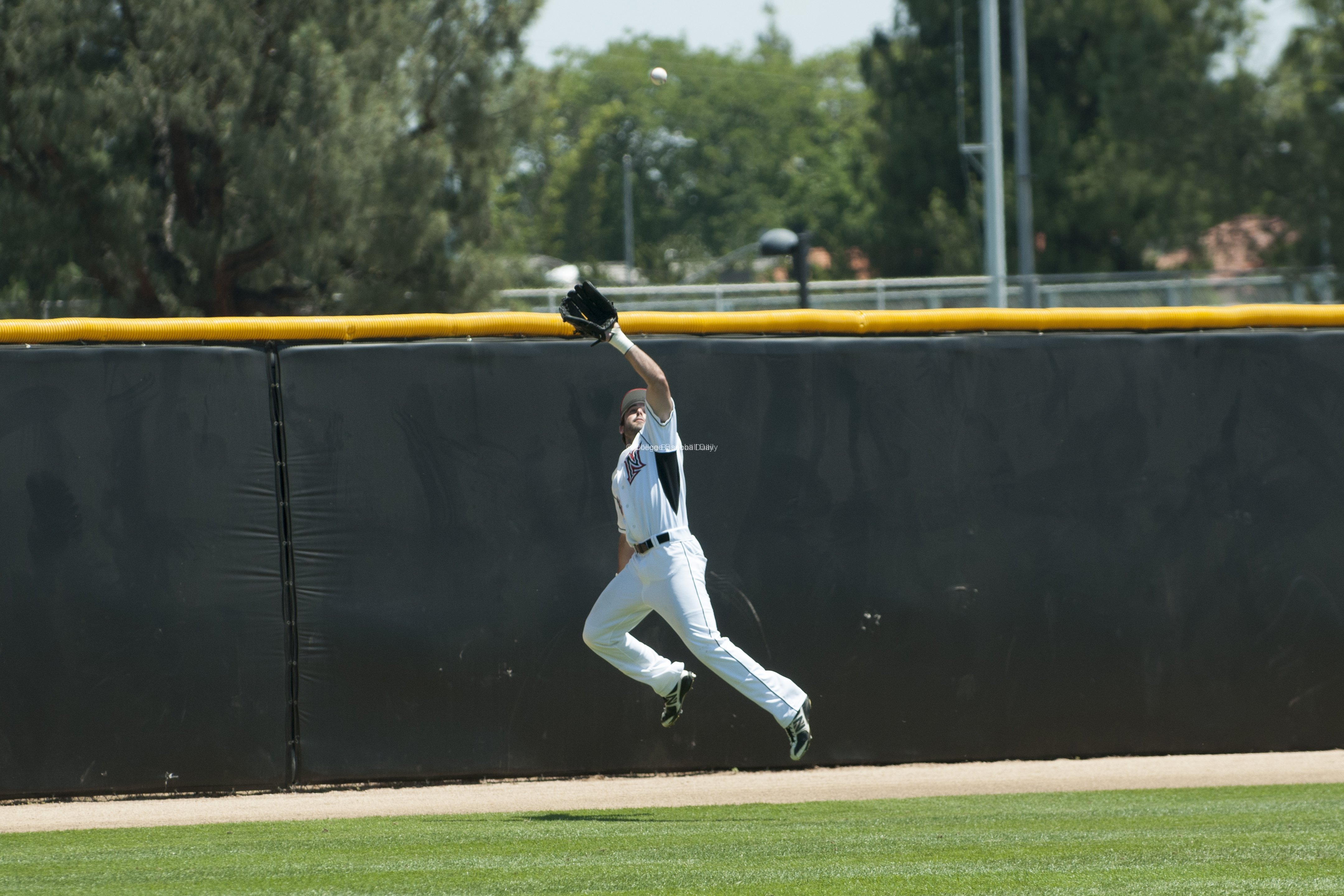 Cal Vogelsang makes a lunging catch.