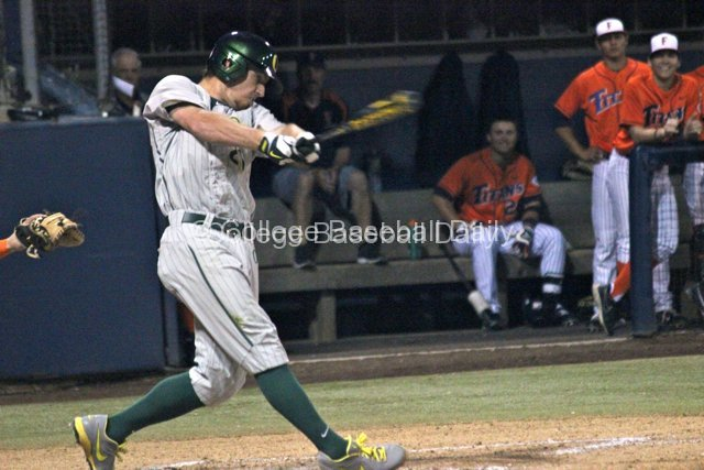 Ryan Hambright lines a base hit.
