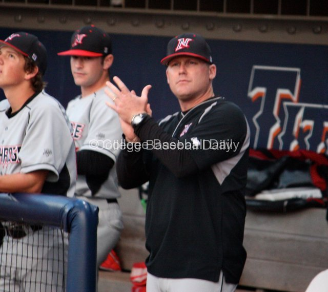 Northridge coach Matt Curtis encourages from the dugout