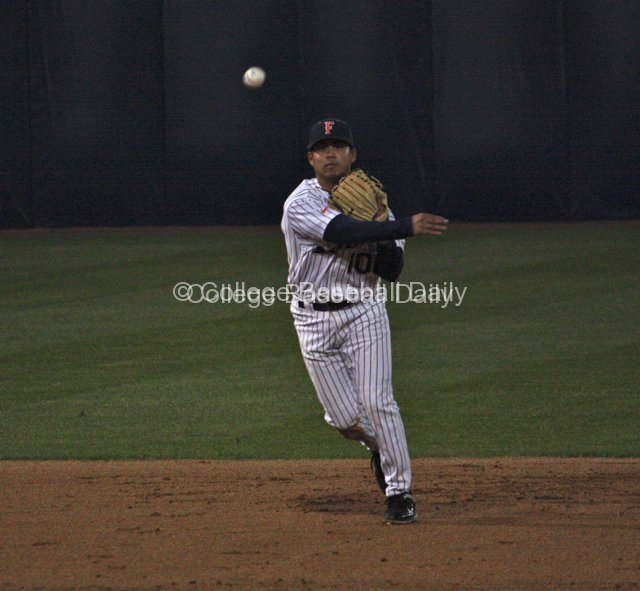 Anthony Trajano throws out a runner.