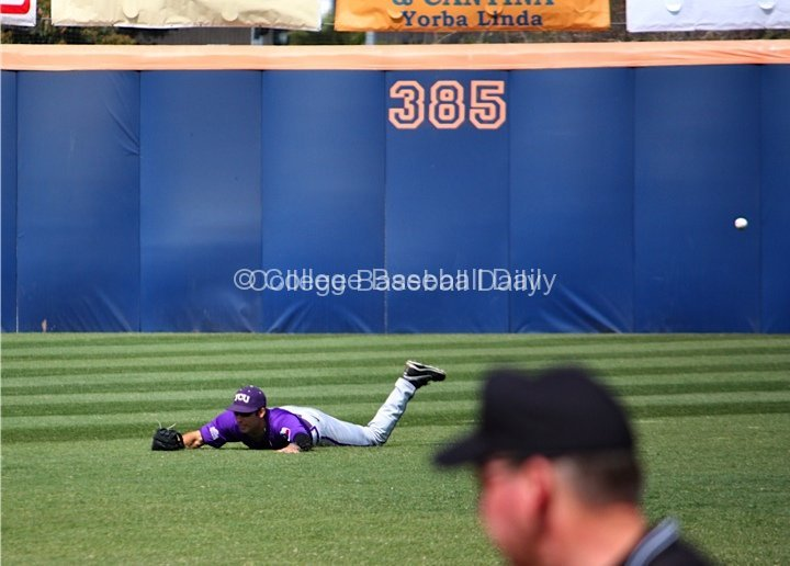 Kyle Von Tungeln's diving attempt comes up empty.
