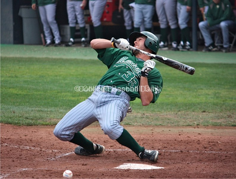 Matt Russell fouls off a bunt attempt that nearly hits him