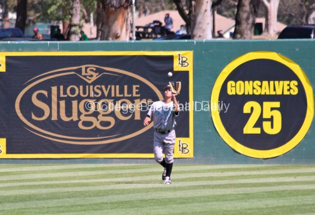 Jordan Ellis catches a fly ball.