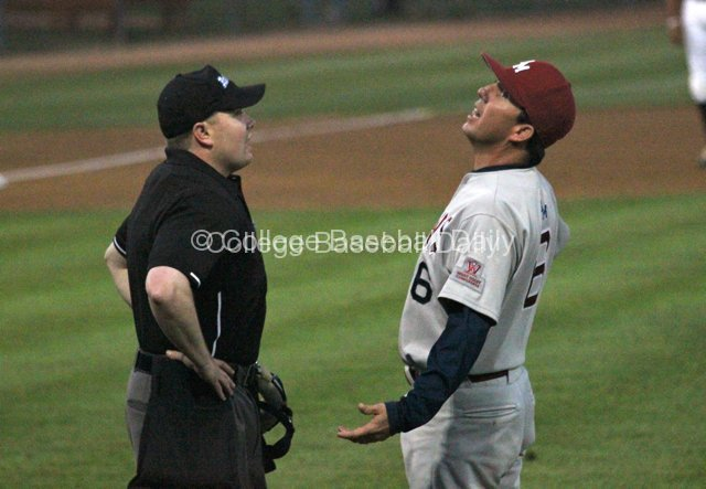 Jason Gill can't believe the umpire's call.