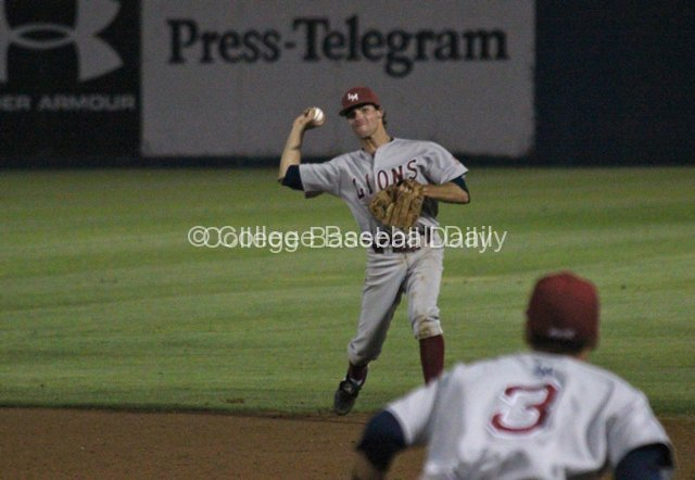 Cullen Mahoney throws to first after knocking a ball down.