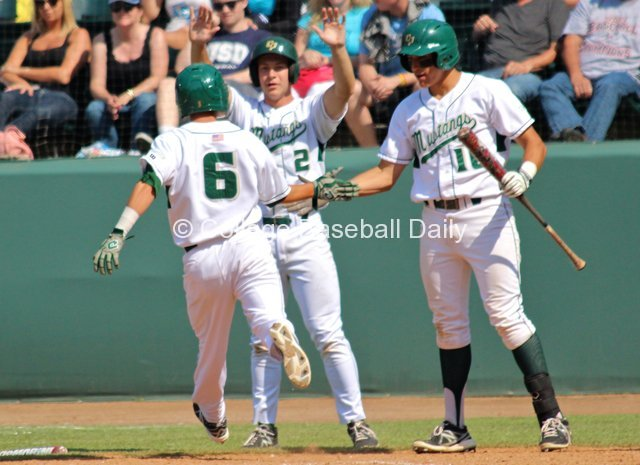 Cal Poly celebrates its six-run sixth inning.