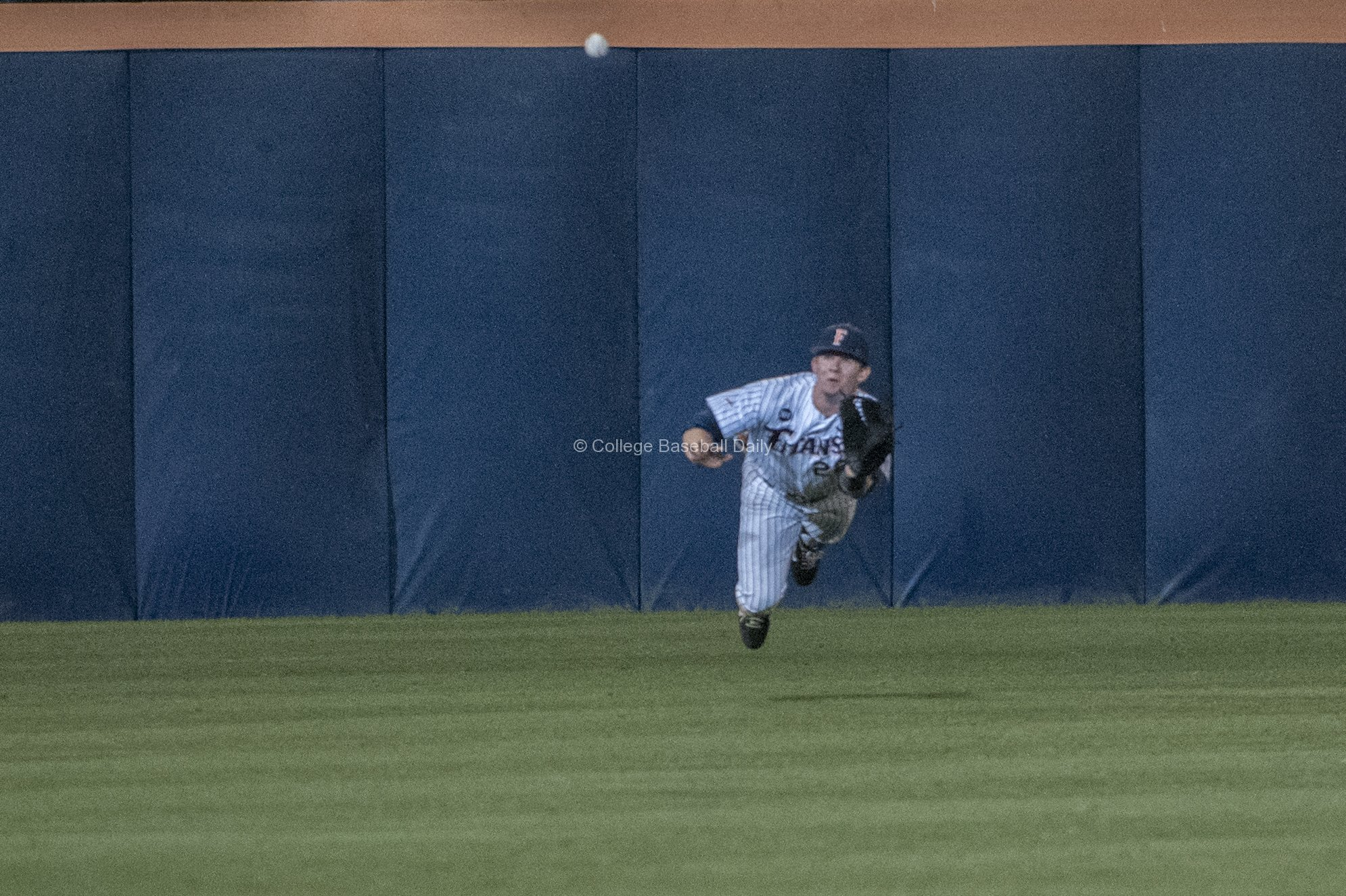 Austin Diemer makes a diving catch.