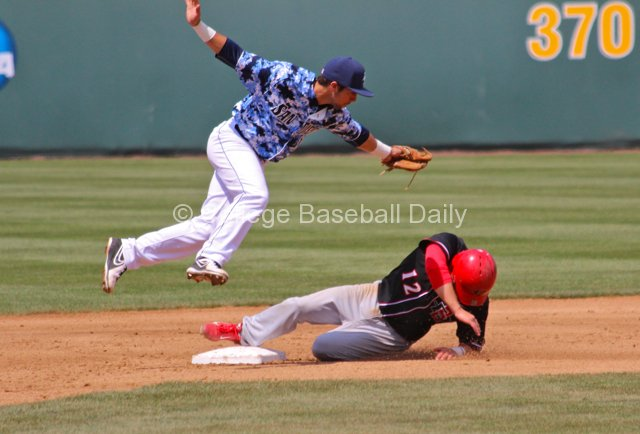 Austin Bailey tries to tag Tim Zier.