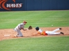 Matt Gelalich steals second base before Dustin Dishman can get the tag down