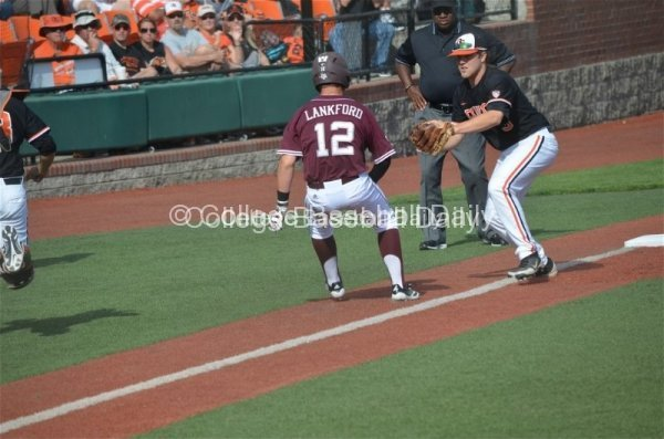 Texas A&M's Cole Lankford caught in a rundown