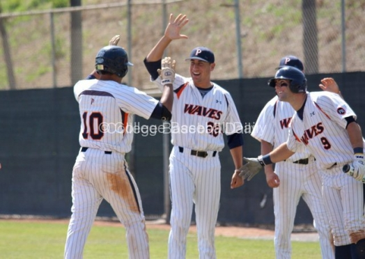 Joe Sever and David DiPaola greet Austin Davidson after his HR.