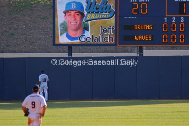 Pepperdine defenders watch Jeff Gelalich's home run sail.