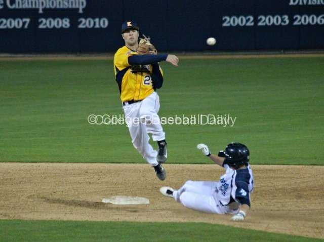Sawyer Polen avoids a runner while trying to turn a double play.