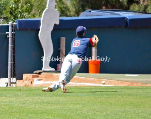 Eric Lane makes a diving try for a foul ball.
