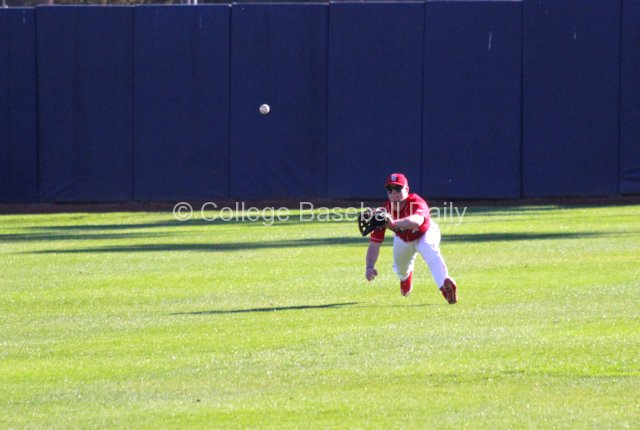 Centerfielder Dan Roland makes a diving catch.