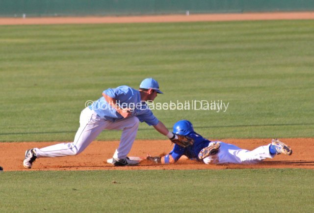 Clayton Prestridge dives into second before Andrew Daniel can apply the tag.