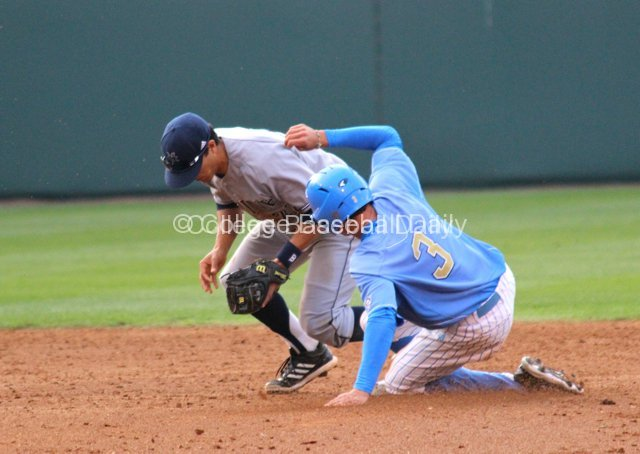 Christoph Bono steals second base.