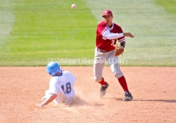 Kenny Diekroeger turns the double play.
