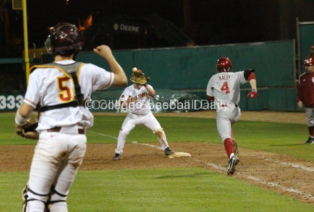 Garrett Stubbs throws out an Oklahoma runner.
