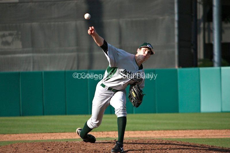 Alex McRae throws a fastball