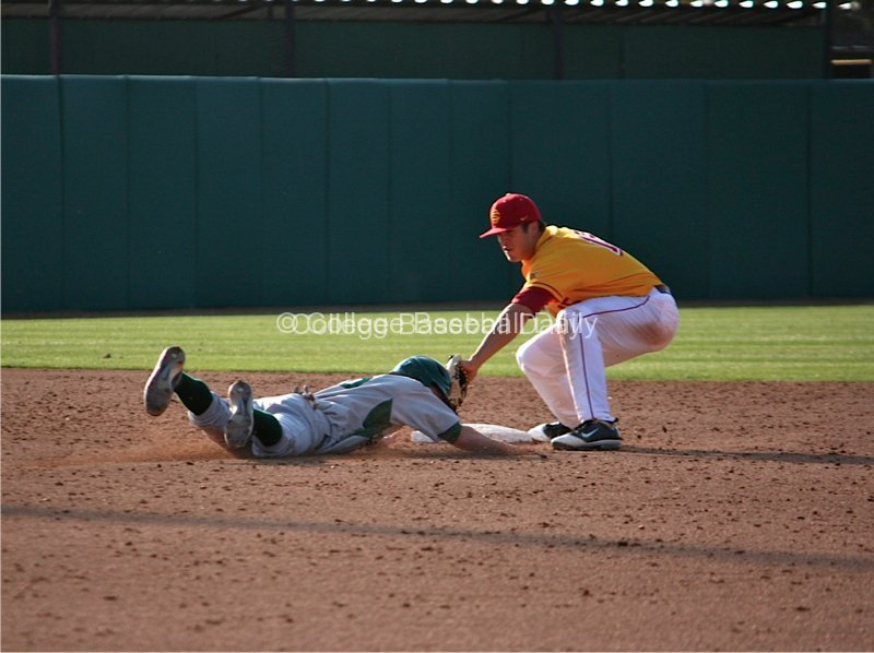 James Roberts attempts to apply the tag on a base stealer