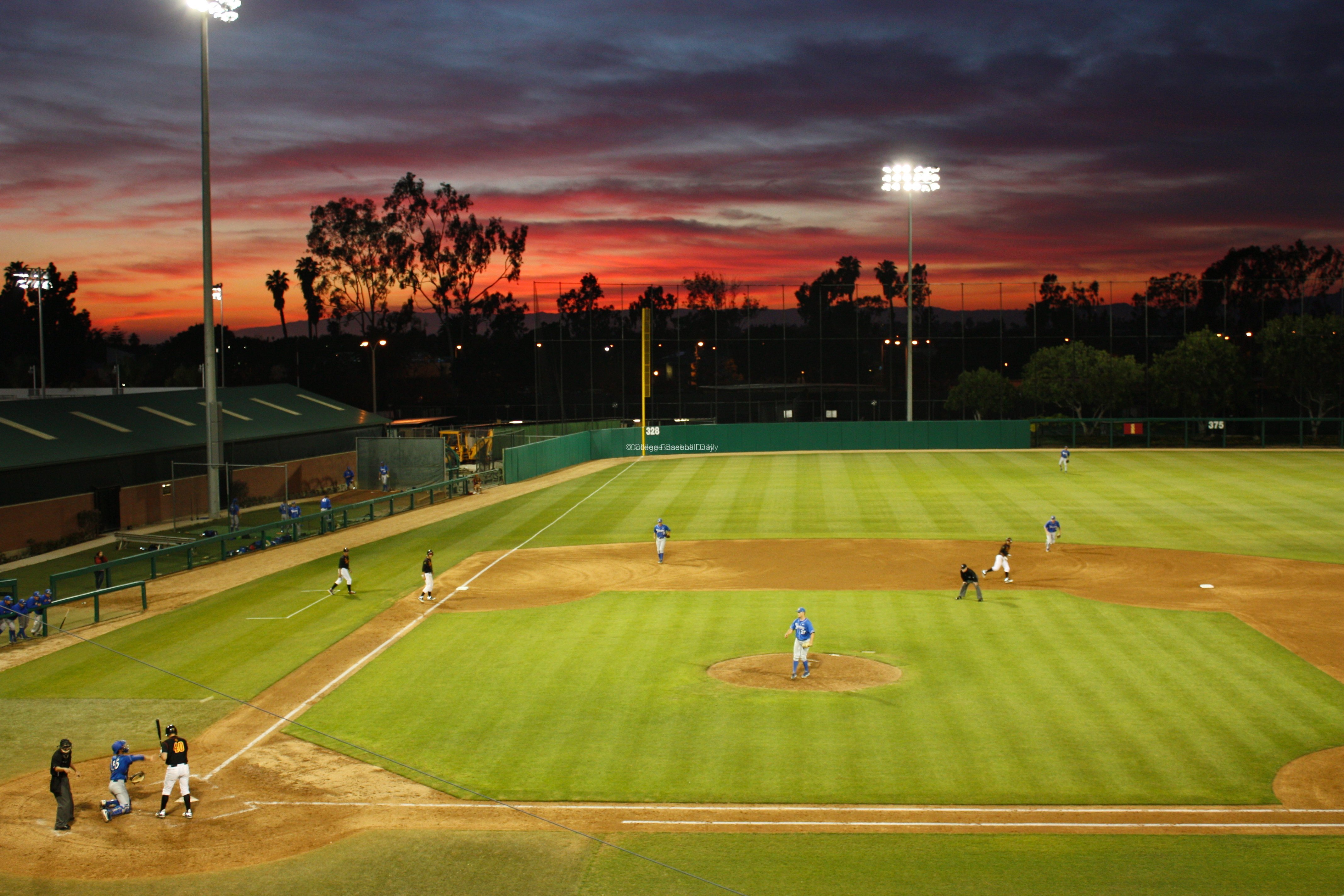 The sun setting at Dedeaux Field.