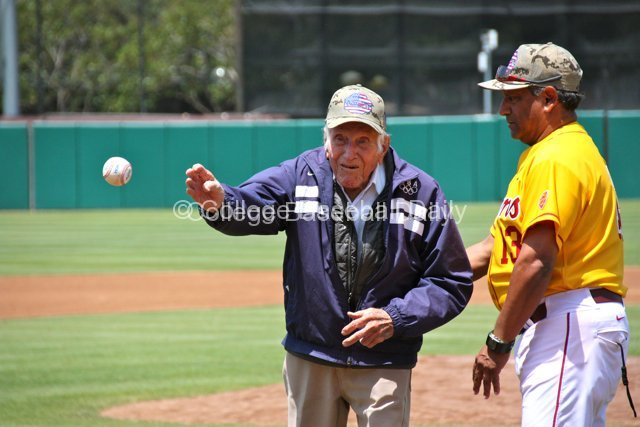 95-year-old WWII hero & Olympic hero Louis Zamperini threw out the first pitch.