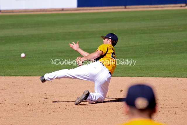 Sawyer Polen flicks a throw to second.