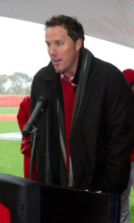 Joe Nathan at Stony Brook's field dedication on October 28, 2011. From Stony Brook Athletics.